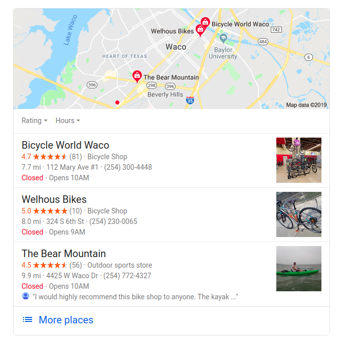 short list of bicycle shops