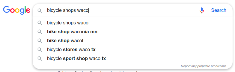 google search for bike shops in waco